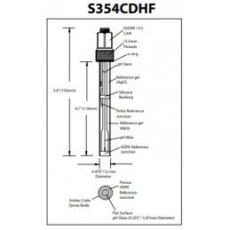 S354CDHF extended life Hamilton direct-fit replacement pH sensor