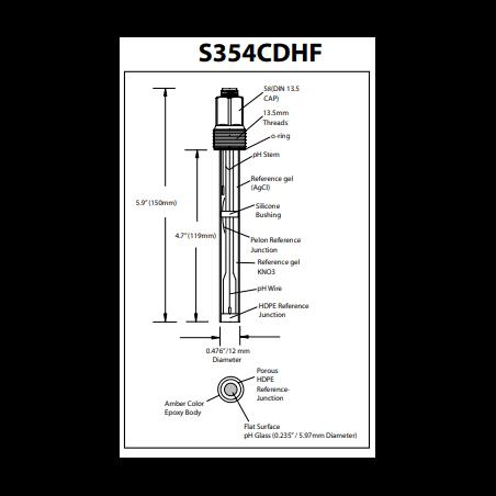 S354CDHF Sonda de  pH de reemplazo de vida extendida Hamilton 238522